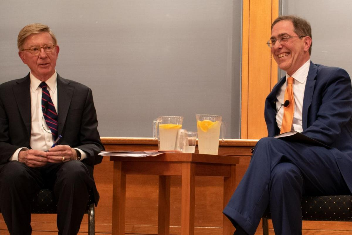 George Will and Christopher Eisgruber, by Sarah Malone.