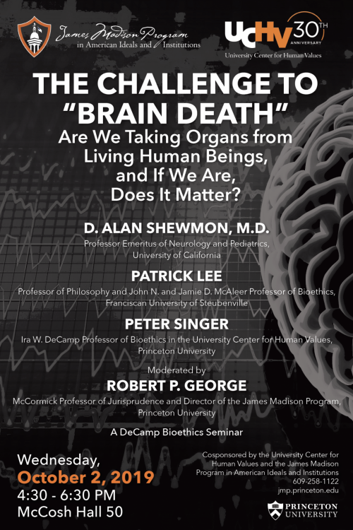 Poster for the panel on Brain Death featuring Alan Shewmon, Patrick Lee, Peter Singer, and Robert P. George