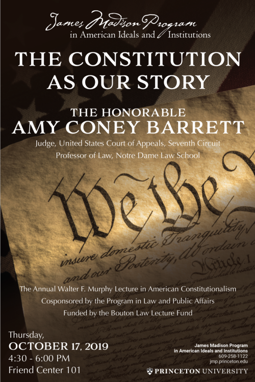 Poster for lecture on the Constitution by Judge Amy Coney Barrett
