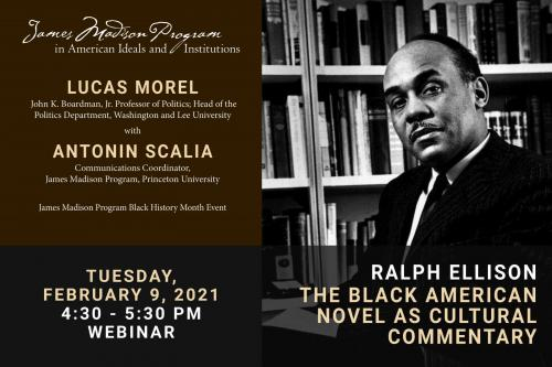 Poster for 2021 Black History Month - photo of Ralph Ellison in front of bookshelf