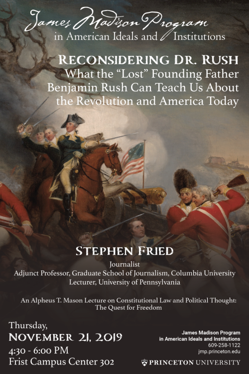 Poster for Stephen Fried lecture on Benjamin Rush