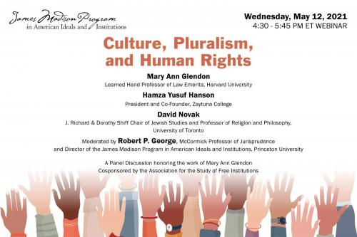 Poster for the Culture, Pluralism, and Human Rights event - diverse group of hands reaching up against a white background
