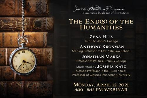 Event poster featuring a stack of books in a dark room with an old clock on a chain