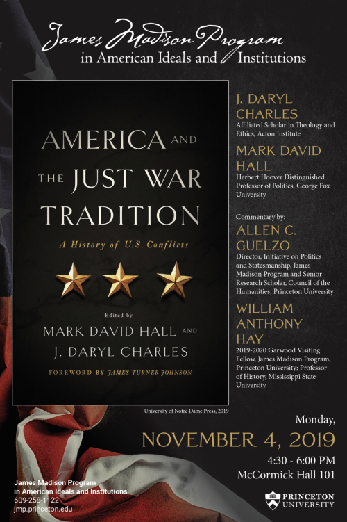 Poster for November 4, 2019 Panel on the Just War Tradition