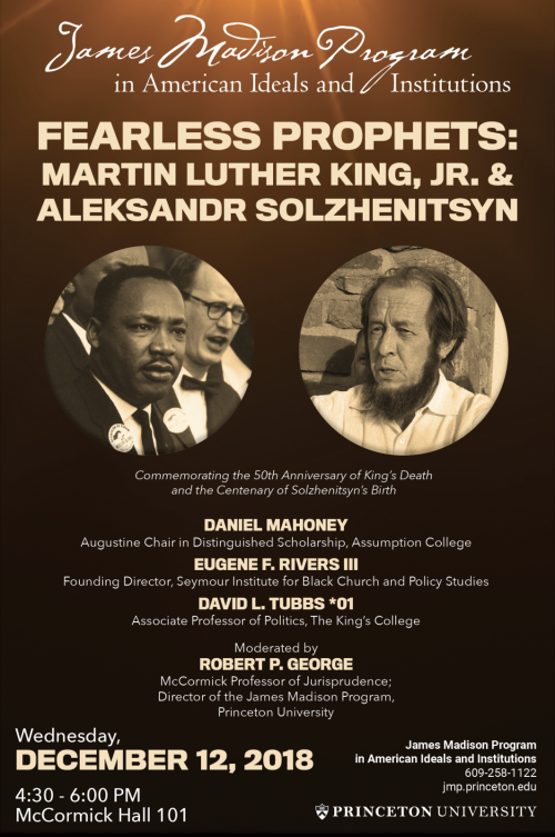 Martin Luther King, Jr. and Alexandr Solzhenitsyn event poster