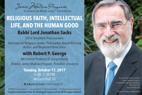 Poster - Rabbi Sacks at Princeton