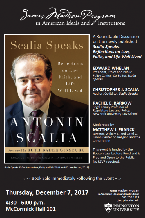 Scalia Speaks event poster