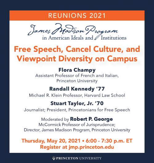 Reunions 2021 event poster showing title in orange and event details in navy blue