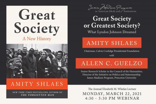 Amity Shlaes event poster with red, black, and white book cover image of Great Society