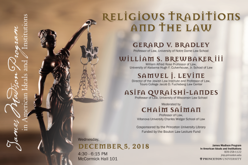 Religious Traditions and the Law event poster