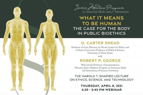 "poster for the ""What it Means to be Human"" lecture by O. Carter Snead with yellow holographic images of male and female bodies"