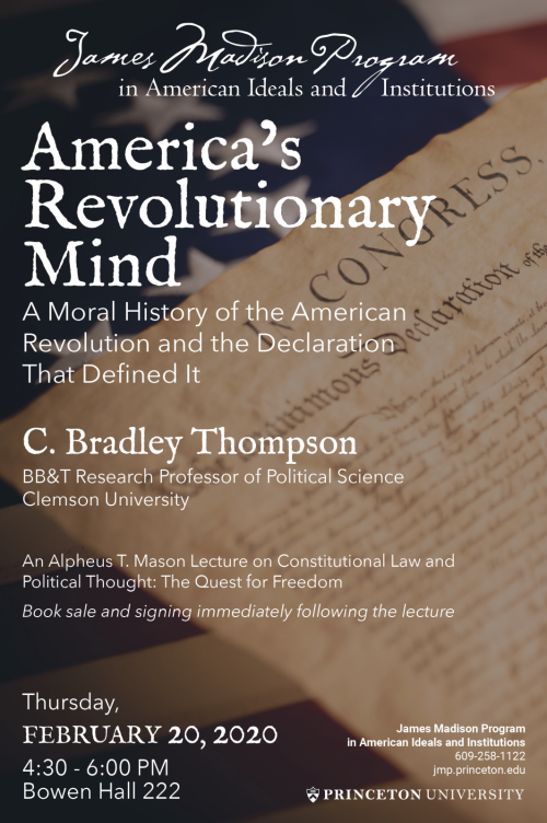 Poster for Thompson lecture on America's Revolutionary Mind - text on background of flag and Declaration of Independence