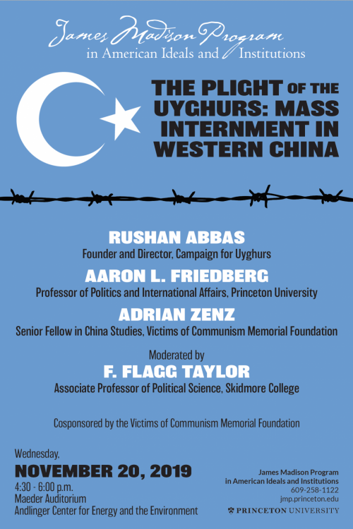 poster for 11/13/19 panel on Uyghur internment