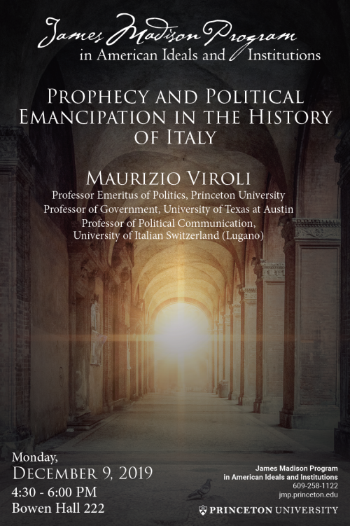 Viroli lecture poster on Prophecy and Political Emancipation