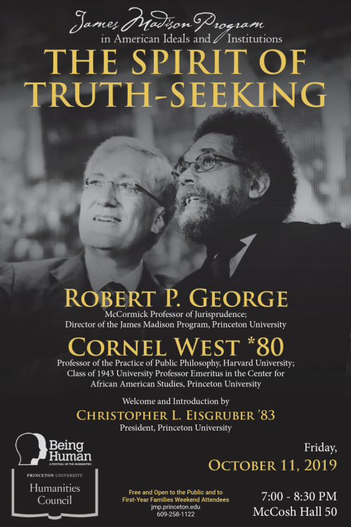 The Spirit of Truth-Seeking poster with Robert George and Cornel West