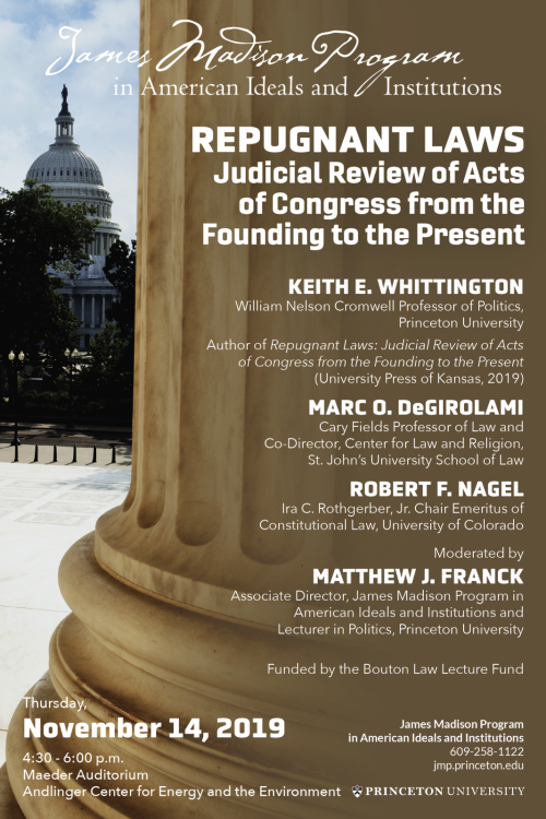 poster for event on Keith Whittington's new book on Regugnant Laws