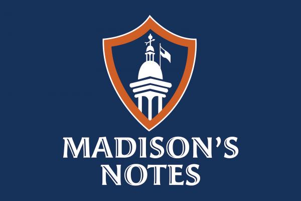 Logo of Madison's Notes podcast on a blue background